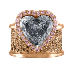 5.42 Carat Heart Shape GIA Certified Fancy Gray Diamond Ring