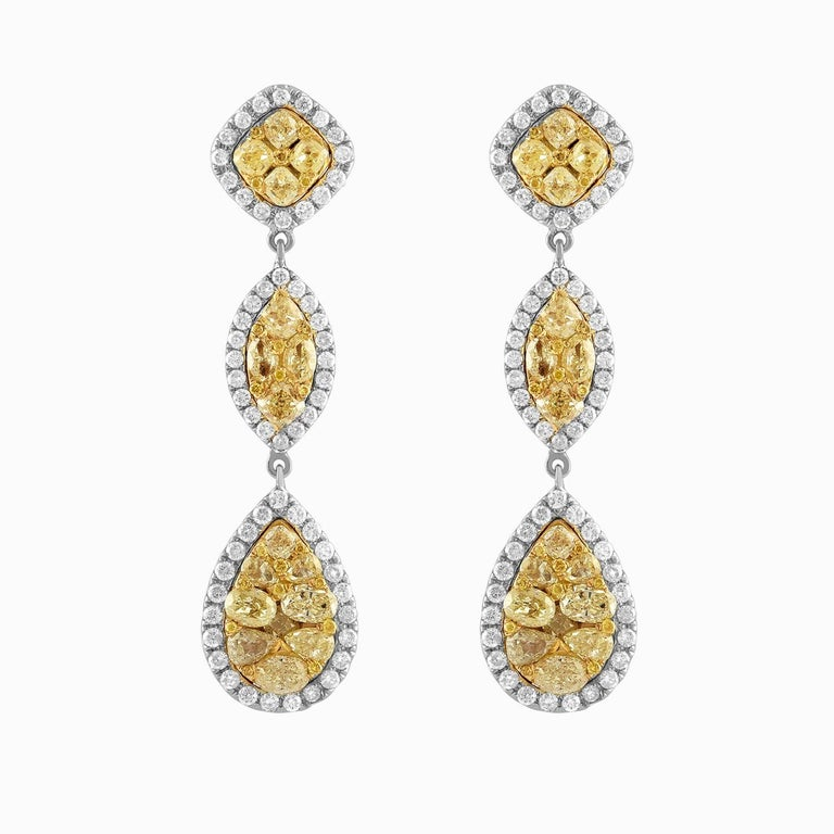18 Karat Two-Tone Gold Drop Earrings with Yellow and White Diamonds