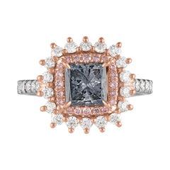 GIA Fancy Blue Gray Certified 1.23 Carat Princess Cut Diamond Ring