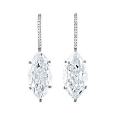 Pair of GIA Certified Marquis Diamonds Set in Platinum Earrings