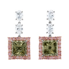 6.02 and 5.64 Carat GIA Fancy Dark Gray Greenish Yellow Diamond Earrings