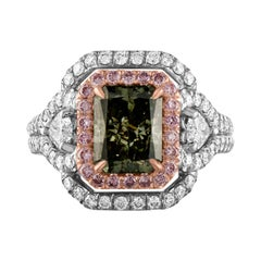 GIA Certified 2.40 Carat Fancy Deep Grayish Yellowish Green Radiant Ring