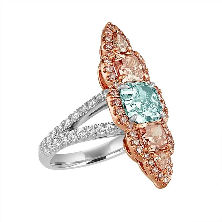 Women's 1.57 Carat GIA Certified Blue Green Cushion Cut and Pink and White Diamonds Ring For Sale