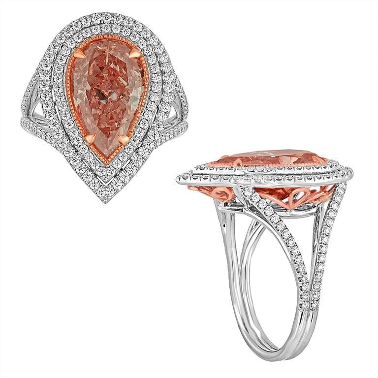 4.14 Carat GIA Cert Fancy Orange Pink Pear Shaped Diamond Ring 3