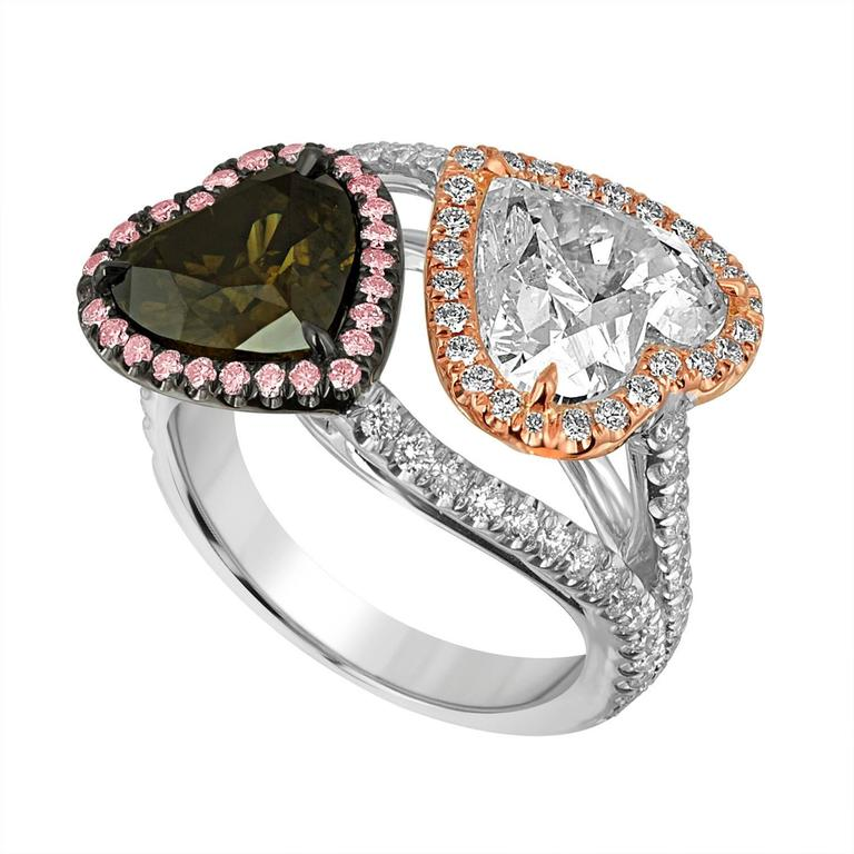 White and Brown Heart Shaped Diamonds in Two Color Gold Ring For