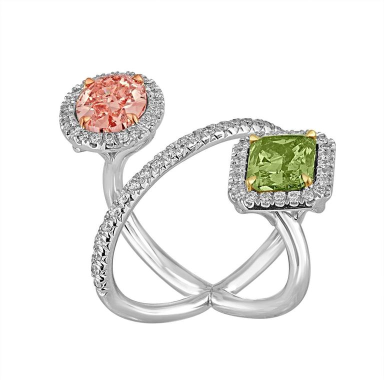 2.15 Carat Pink and 2.40 Carat Green Yellow GIA Certified Diamonds Gold Ring 2