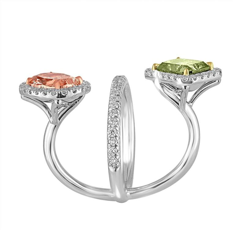 2.15 Carat Pink and 2.40 Carat Green Yellow GIA Certified Diamonds Gold Ring 3