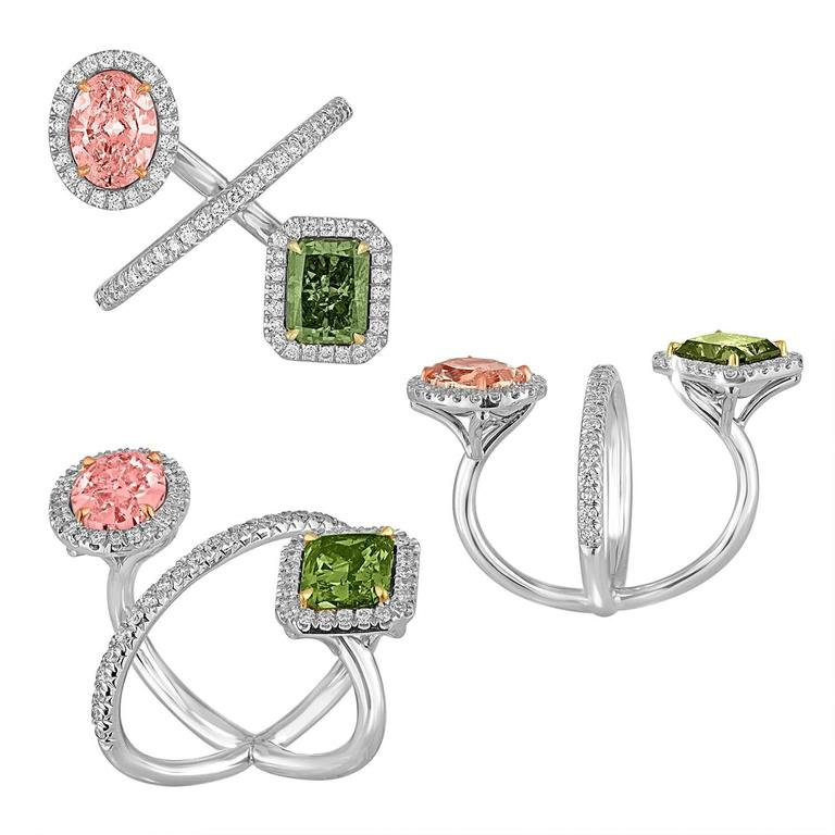 2.15 Carat Pink and 2.40 Carat Green Yellow GIA Certified Diamonds Gold Ring 4