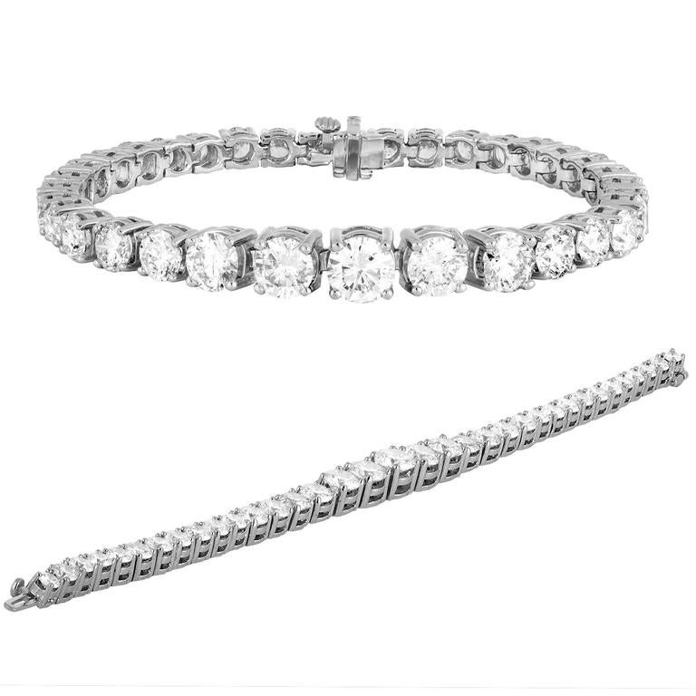 16 10 Carat Diamond Platinum Tennis Bracelet At 1stdibs