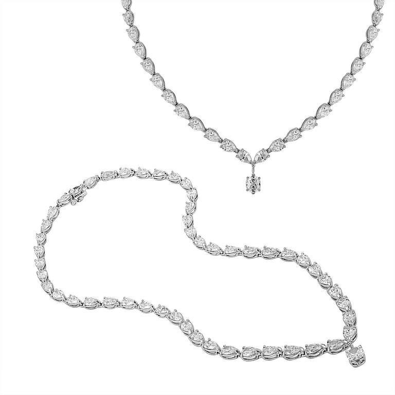 Contemporary 23.52 Carat Pear Shaped Diamonds and 1.03 Carat Diamond Platinum Drop Necklace For Sale