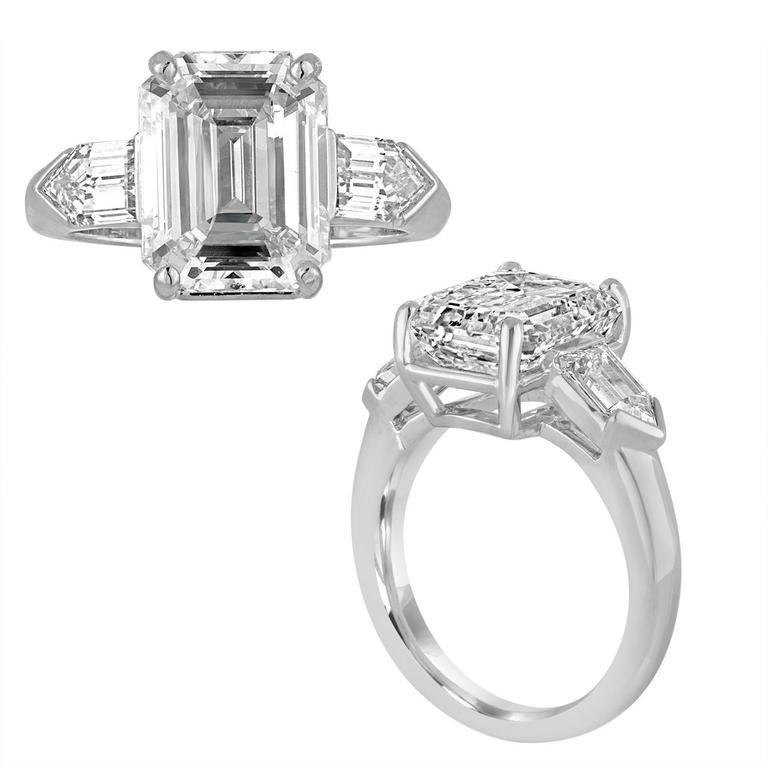Contemporary 5.38 Carat GIA Certified Emerald Cut Diamond Platinum Ring For Sale