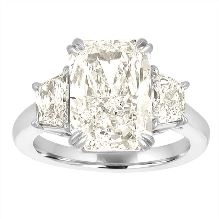 5.12 Carat GIA Cert Radiant Cut Diamond with Two Trapezoids in Platinum Ring