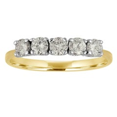 Five-Stone Diamonds Two-Color Gold Wedding Band Ring