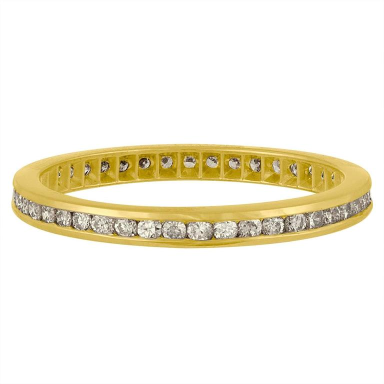 Women's .75 Carat Diamonds Gold Wedding Band Ring For Sale