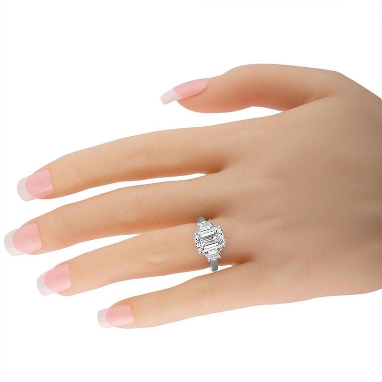 Women's 4.08 Carat Emerald Cut Diamond Set in Platinum Ring Mounting For Sale