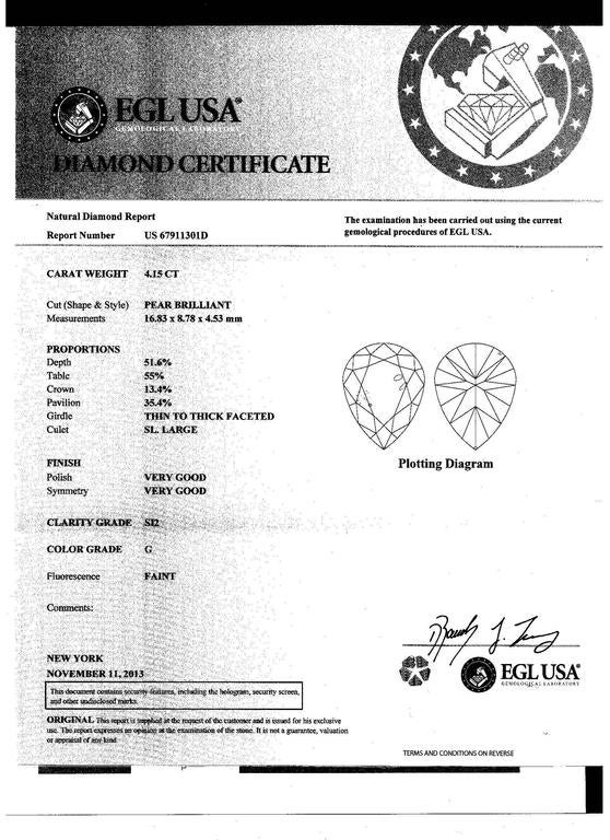 4.15 Carat Pear Shape Certified GSI2 3