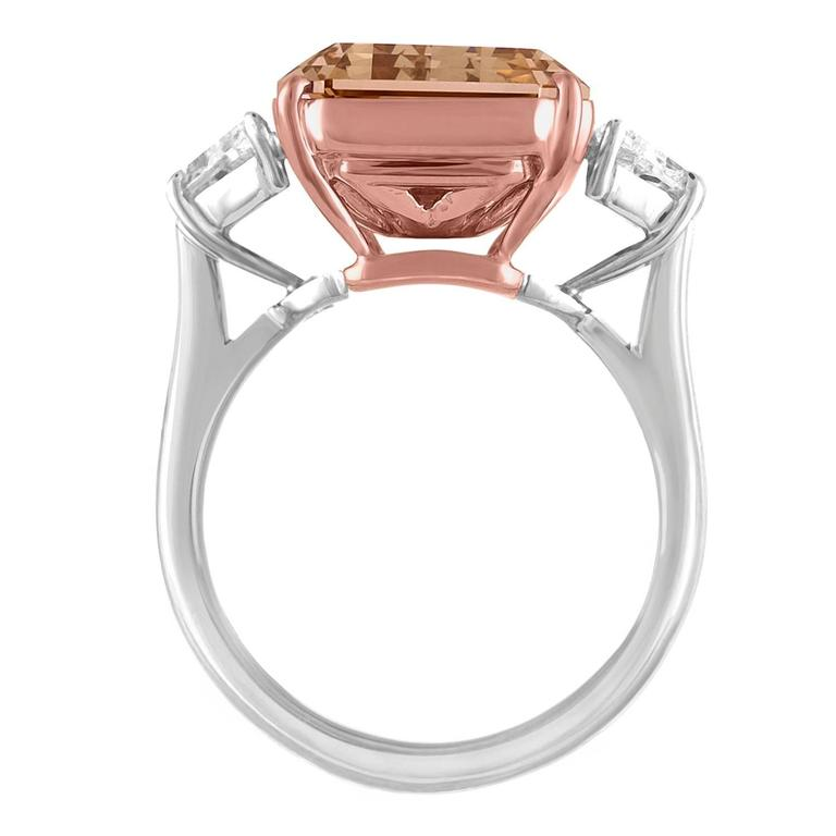 Contemporary 12.62 Carat Emerald Cut Diamond Rose Gold Platinum Ring For Sale