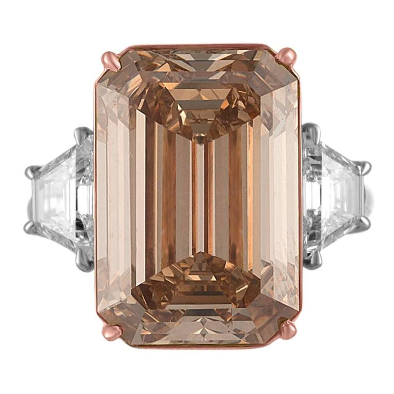 12.62 Carat Emerald Cut Diamond Rose Gold Platinum Ring In New Condition For Sale In New York, NY