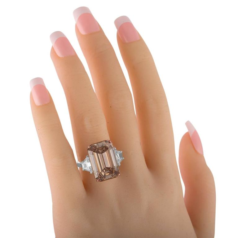 Women's 12.62 Carat Emerald Cut Diamond Rose Gold Platinum Ring For Sale