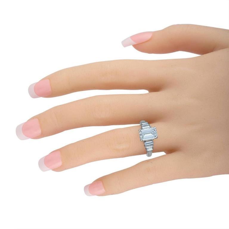 Women's or Men's 2.54 Carat GIA Certified Emerald Cut Diamond Ring For Sale