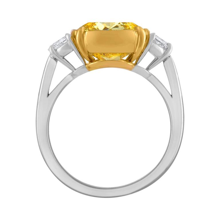 5.04 Carat Cushion Cut GIA Fancy Intense Yellow Diamond Gold Platinum Ring  For Sale 2