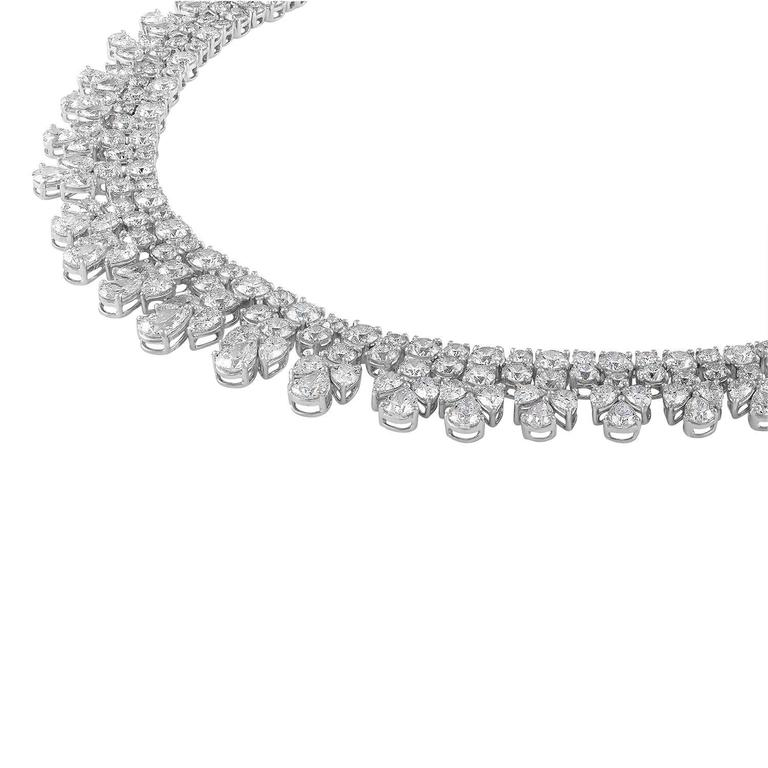 over 50 Carat Fancy Shapes Diamond Platinum Necklace 2