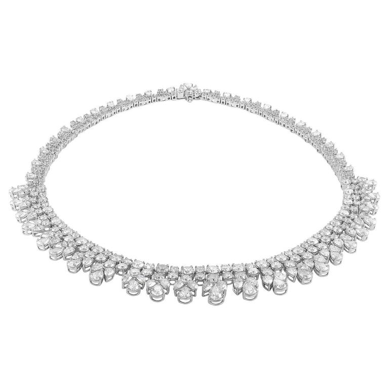 over 50 Carat Fancy Shapes Diamond Platinum Necklace 4