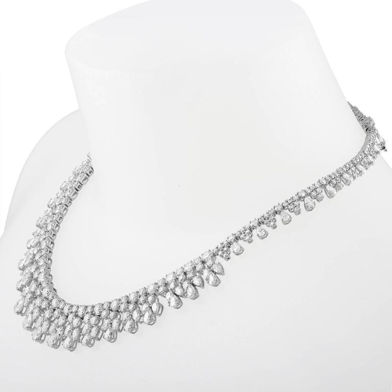 over 50 Carat Fancy Shapes Diamond Platinum Necklace 6