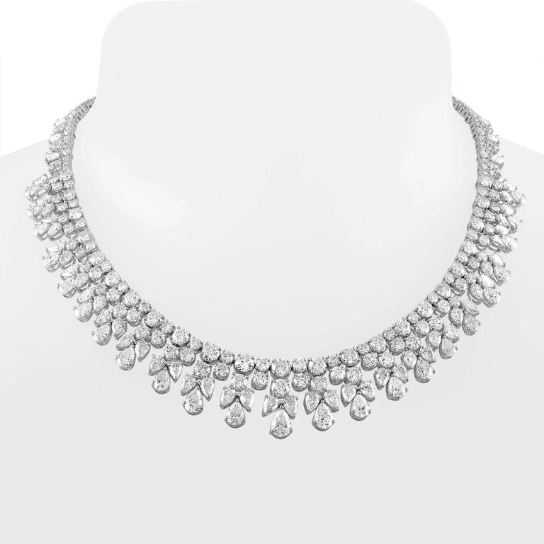 over 50 Carat Fancy Shapes Diamond Platinum Necklace 7