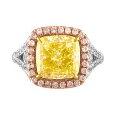 5.03 GIA Fancy Yellow Cushion Cut Diamond in Tri-Color Ring