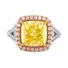 5.03 GIA Fancy Yellow Cushion Cut Diamond in Tri-Color Ring