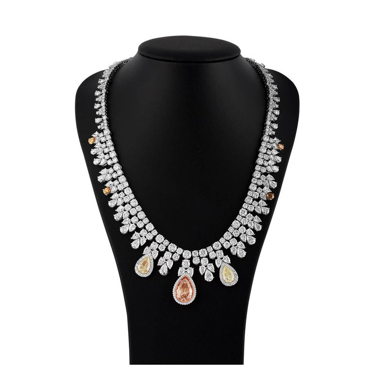 Tri Color Fancy Shape Necklace with over 50 Carat with Three Large Pear Shapes 4
