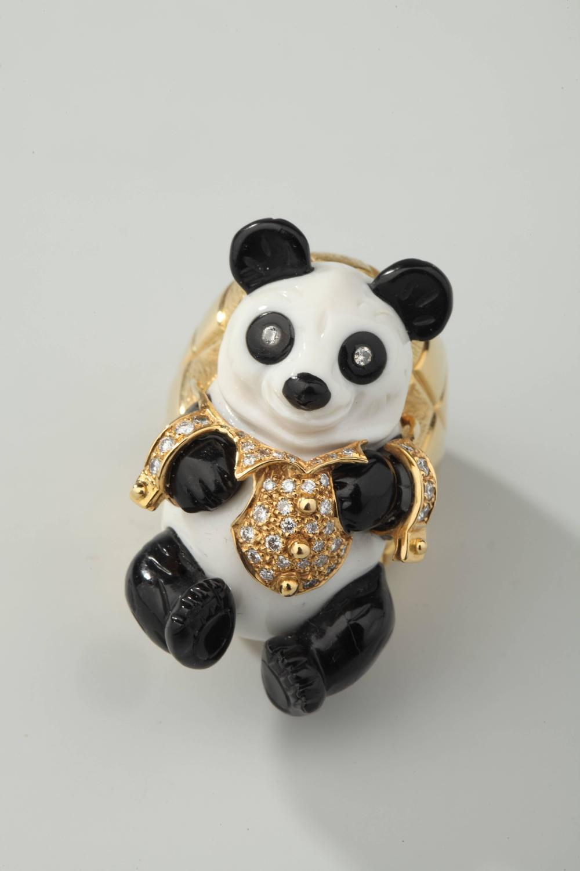 segoura white opal onyx gold panda ring for