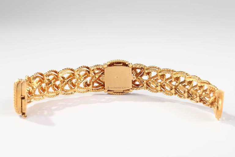 Women's 1960s Boucheron Paris Braided Gold  Mechanical Bracelet Wristwatch For Sale