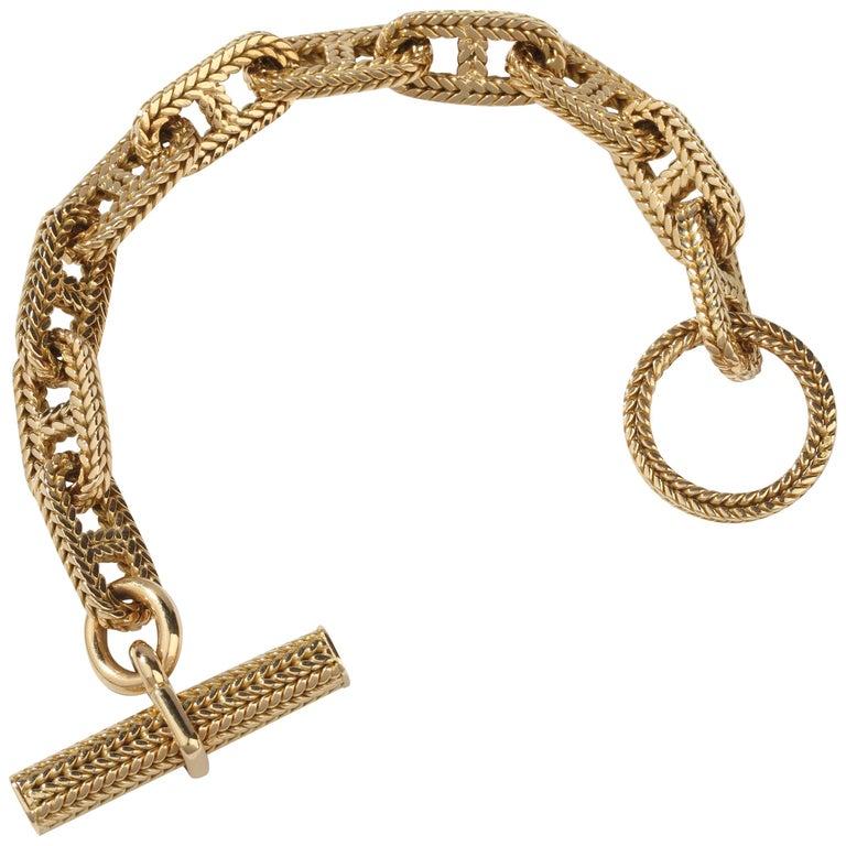 Hermes Vendôme Tresse Gold Toggle Bracelet For