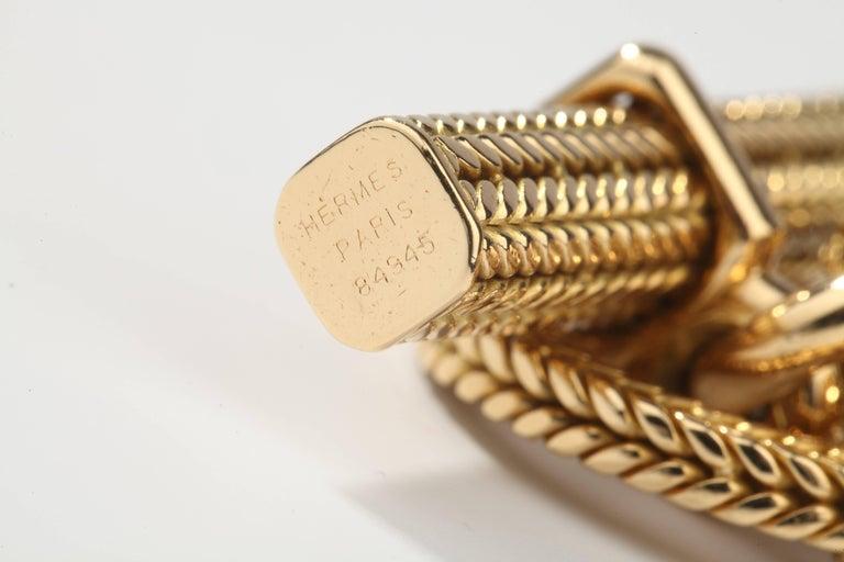 Hermes Vendôme Tresse Gold Toggle Bracelet In Excellent Condition For Sale In Paris, FR