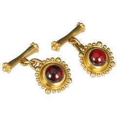 Helen Woodhull Byzantine Collection Garnet Gold Cufflinks
