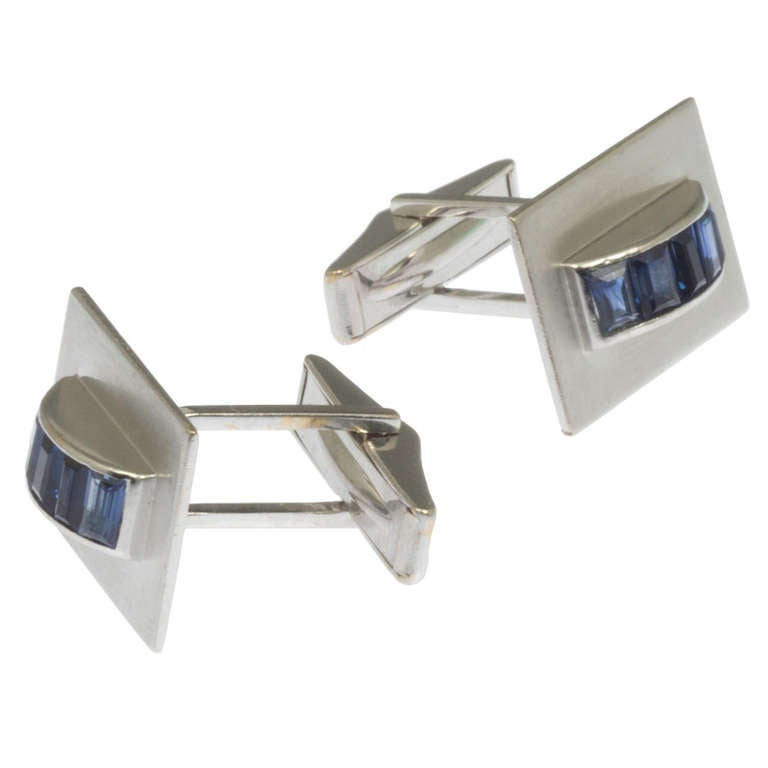 white gold and sapphire cufflinks at 1stdibs