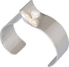 Modernist Sterling Silver and Pearl Cuff by Bill and Patsy Roach