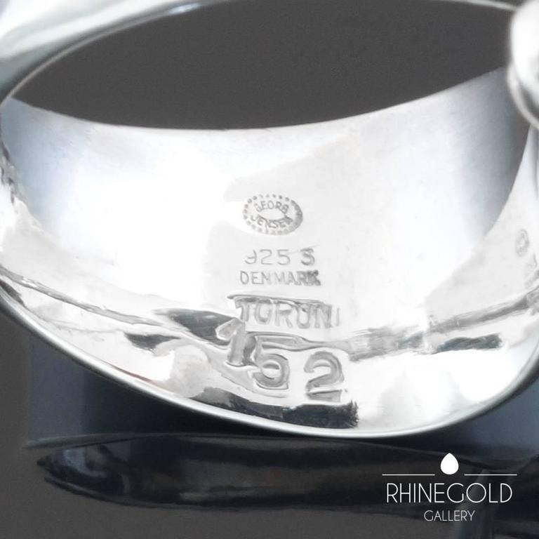 1960s Georg Jensen Torun Bulow Hube Modernist Moonstone Silver Ring Nr.152 4