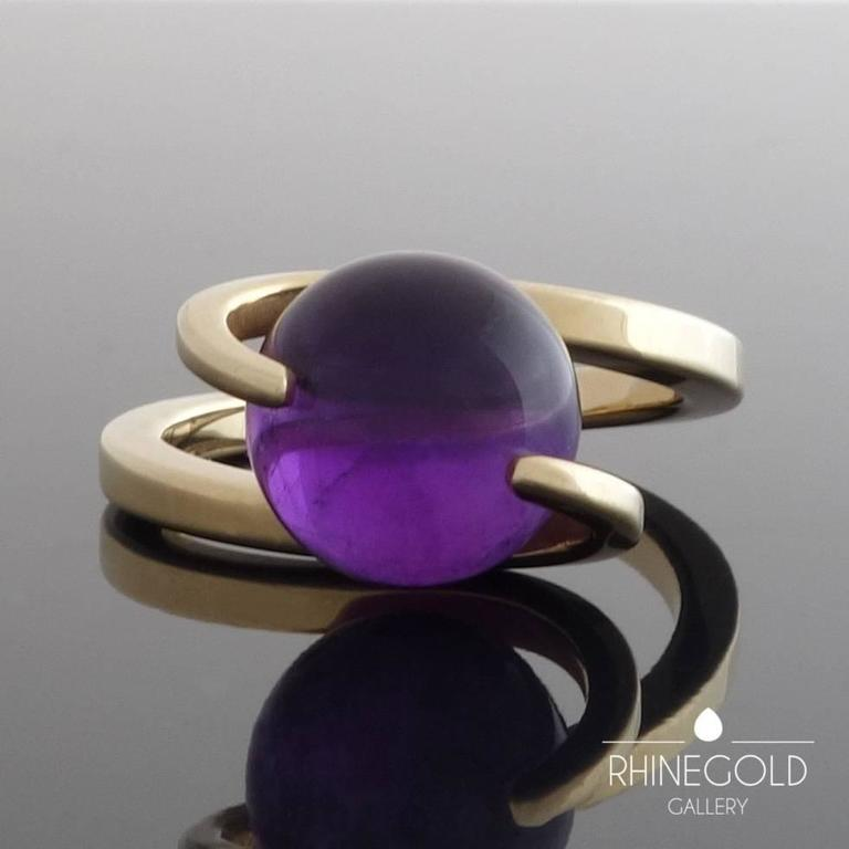 1960s Friedrich Becker Gold Ring Interchangeable Amethyst Chalcedony Agate Orbs 3