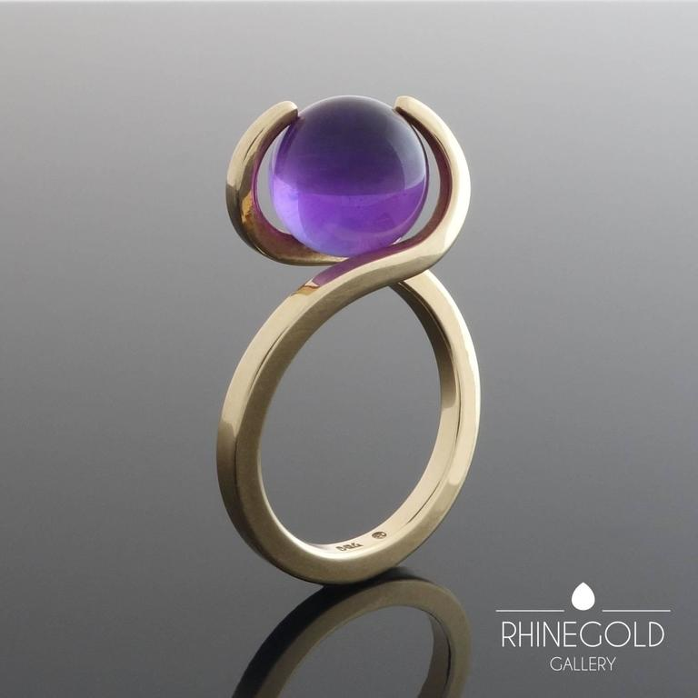 1960s Friedrich Becker Gold Ring Interchangeable Amethyst Chalcedony Agate Orbs 6