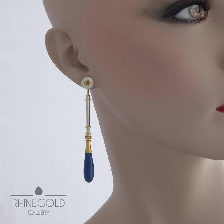 "Janine Renard (attr.): A Pair of Postmodern Diamond Lapis Lazuli Citrine Gold Earrings 18K white & yellow gold, lapis lazuli, citrine, 12 diamonds (fancy yellow, vvs, total 0.12 carat) Length 8.2 cm (approx. 3 1/4""), width (top) 1.0 cm"