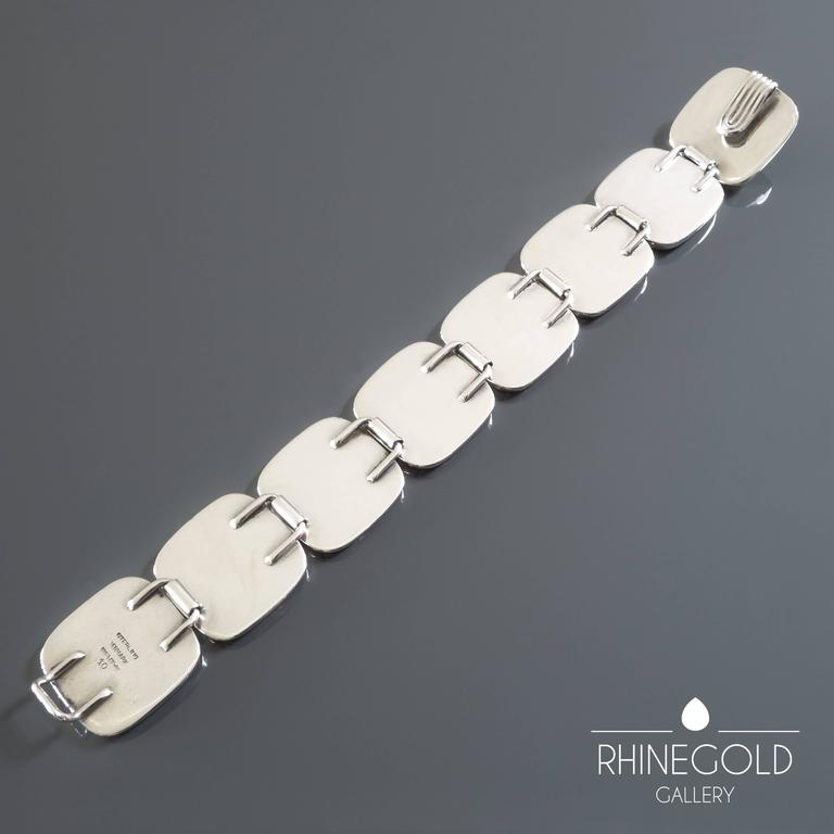 1960s Bent Knudsen Danish Modernist Silver Bracelet In Excellent Condition For Sale In Dusseldorf, NRW