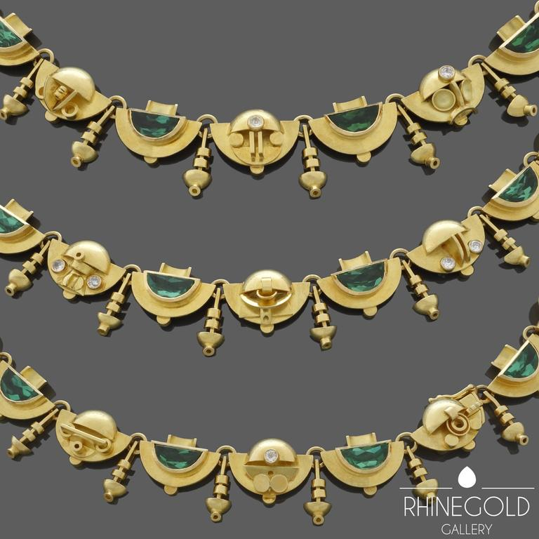 "Ernst Treusch, Leipzig, Germany: Art Deco Tourmaline Diamond Gold Necklace 18k yellow gold, tourmaline (approx. 18 carats in total) , brilliant cut diamonds Length 44.5 cm (approx. 17 15/16""), Width 1.5 cm (approx. 5/8"") Marks: Maker's"