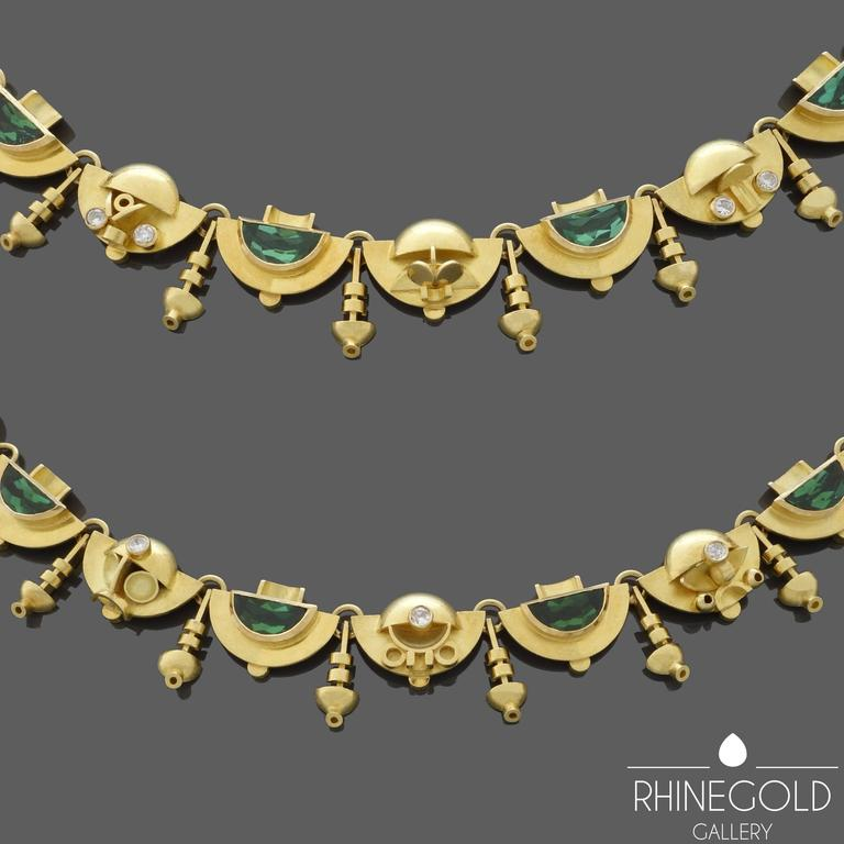 1920s-1930s Ernst Treusch Art Deco Tourmaline Diamond Gold Robot Mask Necklace  In Excellent Condition For Sale In Dusseldorf, NRW