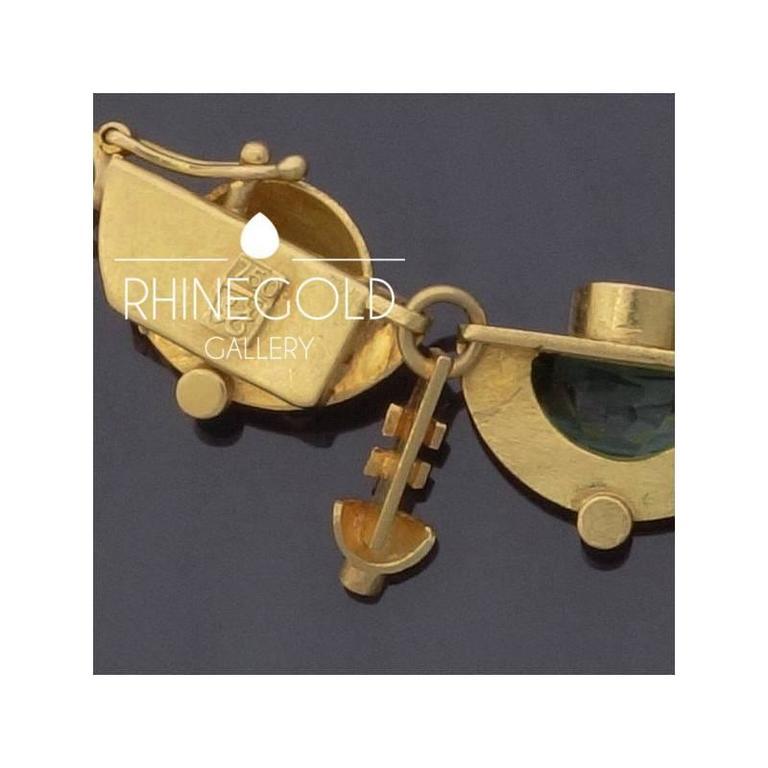1920s-1930s Ernst Treusch Art Deco Tourmaline Diamond Gold Robot Mask Necklace  For Sale 1
