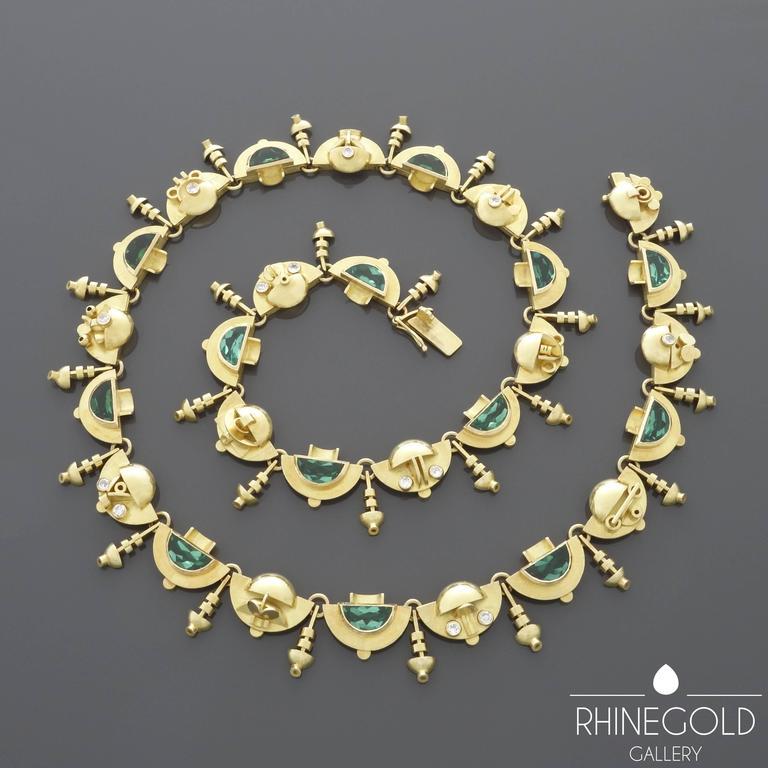 1920s-1930s Ernst Treusch Art Deco Tourmaline Diamond Gold Robot Mask Necklace  For Sale 2
