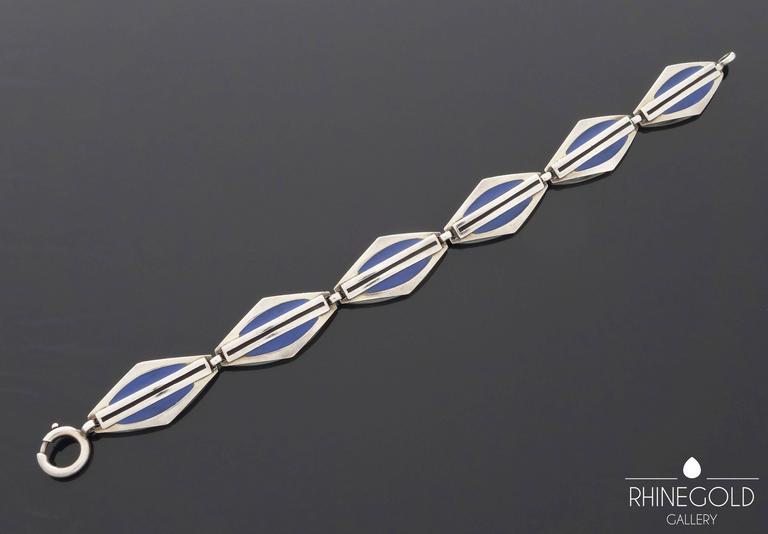 1920s Theodor Fahrner Art Deco Matte Enamel Silver Bracelet 2