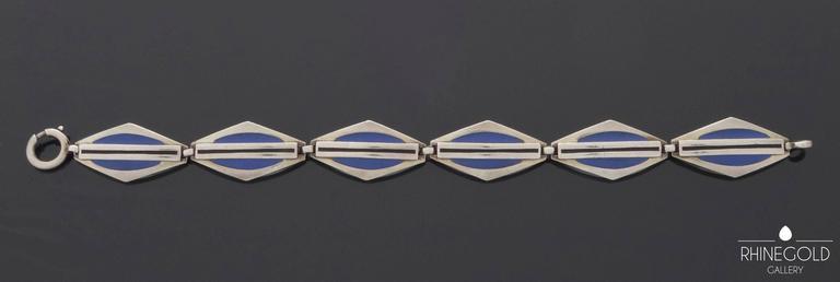 1920s Theodor Fahrner Art Deco Matte Enamel Silver Bracelet 3